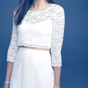 Lace Wedding Crop Top with 3/4 Length Sleeves